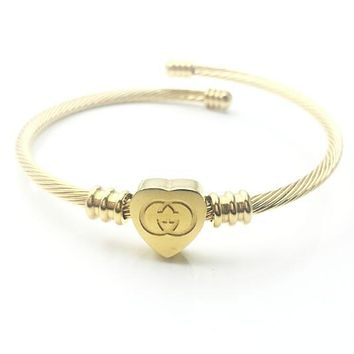 LV GUCCI Stylish Women Men Personality Simple Square Heart Hand Catenary Bracelet Jewelry Accessories Golden