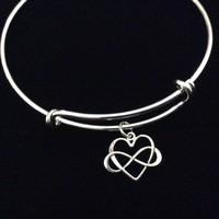 Infinity Forever Silver Heart Adjustable Bracelet Expandable Wire Bangle Wife Friend Gift Wedding Anniversary