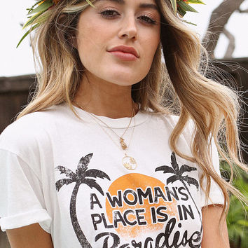 place in paradise tee dress , retro style tee, 70s inspired tee dress, vintage graphic t dress, pro feminism dress, distressed graphic tee
