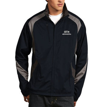 Mens Seattle Seahawks Antigua College Navy Discover Half Zip Pullover Jacket