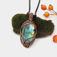 Unique wire wrapped Labradorite necklace, blue Labradorite pendant, copper wire wrap, black leather necklace, unique necklace for women