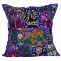 Purple Old Sari 16x16 Cotton Accent Toss Pillow Case on RoyalFurnish.com