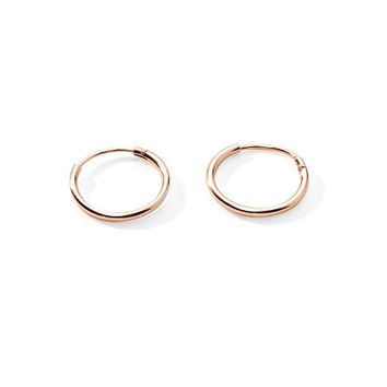 Regetta Jewelry Sterling Silver Rose Gold Toned Small Endless Hoop Earrings for Cartilage/Nose/Lips, 10mm