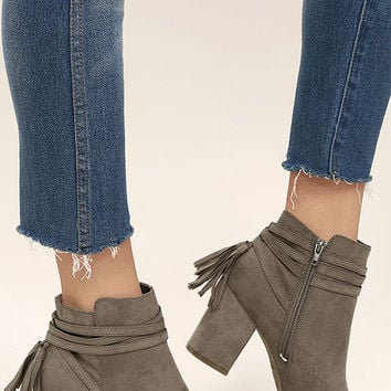 Philipa Taupe Suede Ankle Booties