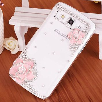 NEW Luxury 3D Flower bling Crystal Mobile phone Shell Back Cover Hard Case For Samsung Galaxy core II 2 Core2 G355H G3559 G3556D
