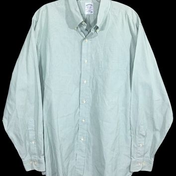 Brooks Brothers Slim Fit Green White Skinny Striped Button Down Shirt Mens 16.5 - Preowned