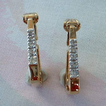 Panetta Rhinestones Triangular Hoop Clip Earrings Vintage Designer Jewelry