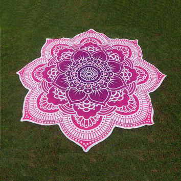Large Round Lotus Flower Mandala Tapestry Flower Beach Towel Hippie Gypsy Boho Throw Towel Tablecloth Hanging