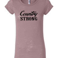 Country Strong Mauve Ladies Burnout T-Shirt