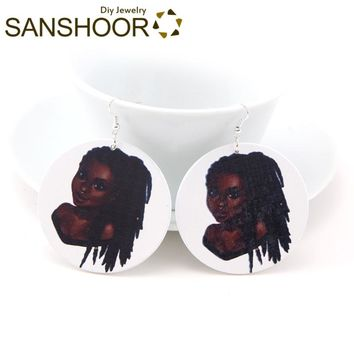 SANSHOOR Printed Black Girl Tribe Wood Dangle Earrings Afrocentric Ethnic Natural Hair Halloween Jewelry For Women Gifts 1Pair