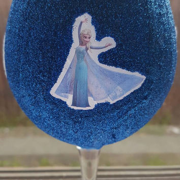 Disney frozen let it go inspired wine glass