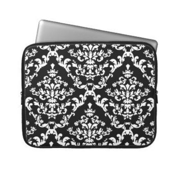 Black and White Damask Pattern Laptop Sleeve from Zazzle.com