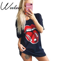 Weekeep 2017 Summer Brand T shirt Women Black Slip Print Harajuku t-shirts Fashion Tommy Kyliejenner Tumblr Rock Tops Shirts