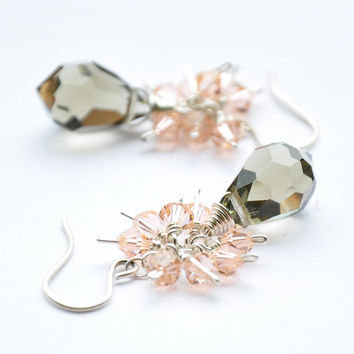 Black Crystal Earrings Pastel Peach Champagne by GueGueCreations