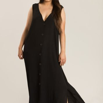 Plus Maddie Black Button Maxi Dress