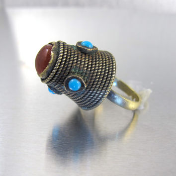 Antique Bedouin Tower Ring, Yemeni Afghan Kuchi Silver Carnelian Turquoise Cabochon Pyramid Ring, Gypsy Tribal Ethnic Ring Size 8.50