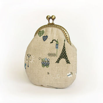 Paris Style Purse, Eiffel Tower Cosmetic Bag, Retro Linen Fabric Handbag with Kisslock