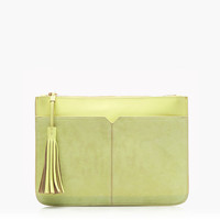 J.Crew Womens Suede And Leather Tassel Clutch