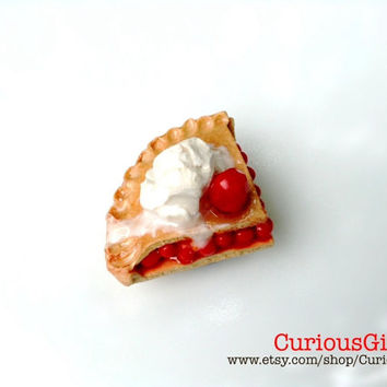 Hand sculpted clay Cherrie pie & ice cream magnet