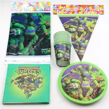 46pcs kids birthday tableware cups plates napkins banner tablecover teenage mutant ninja turtles party decorations for 12kids