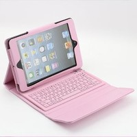 SUPERNIGHT® Pink PU Leather Bluetooth Keyboard Case Cover Stand for Apple iPad Mini