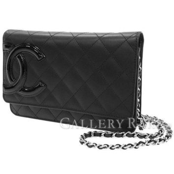 CHANEL Chain Wallet Cambon Line Calf Black Shoulder Bag A46646 Authentic 4124474