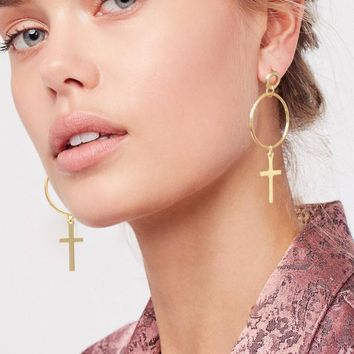 Neylanly Fashion Punk Gold Metal Dangle Earrings Women Star Circle Disc Tassel Cross Pendants Long Drop Jewelry Earring Gifts