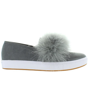 Steve Madden Emily - Grey Suede Feather Pom-Pom Slip-On Sneaker
