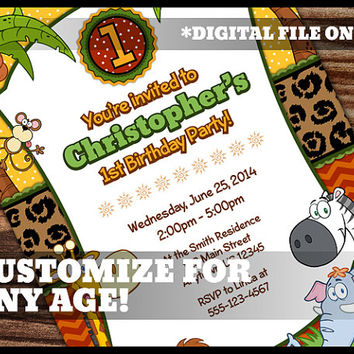 Safari Theme 1st Birthday Invitation First Birthday Boy Girl Safari Party Jungle Animal Digital Printable Customized Personalized 5x7