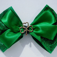 St. Patricks Day Green Sparkly Hair Bow