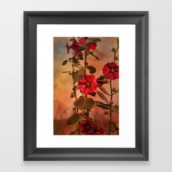 Mid-Summer Hollyhocks Framed Art Print by Theresa Campbell D'August Art