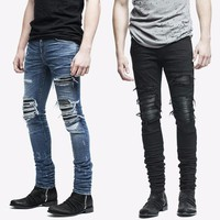 New Men's Jeans Stretchy Ripped Skinny Jeans