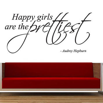 Large Happy Girls Are The Prettiest Wall Sticker -  Words Quote Famous Mural Decal Audrey Hepburn