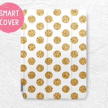 Gold Glitter print Polka dots Smart Cover for iPad Mini, iPad mini 2 retina, iPad Air, iPad Air 2, stylish Smart cover with back case -P6