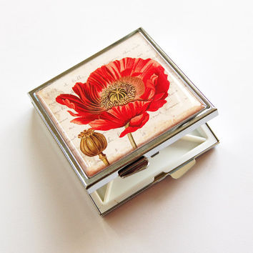 Poppy Pill case, Poppy Pill box, 4 Sections, Square Pill box, Pill case, Poppy case, Floral, Poppies, Flower Case, Kellys Magnets (4042)