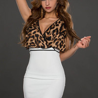 White Leopard Print Sleeveless Bodycon Mini Dress
