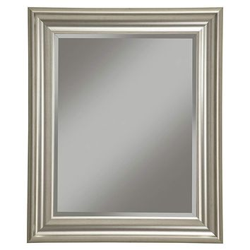 Polystyrene Framed Wall Mirror With Beveled Glass, Champagne Silver
