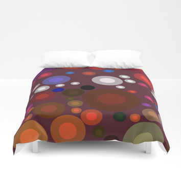 Retro Multi Color Bubbles Duvet Cover by Sheila Wenzel