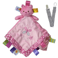 Mary Meyer 40005 Kandy Kitty Taggies Baby Blanket with Pacifier Clip