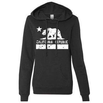 California Flag White Print Silhouette Ladies Fitted Hoodie