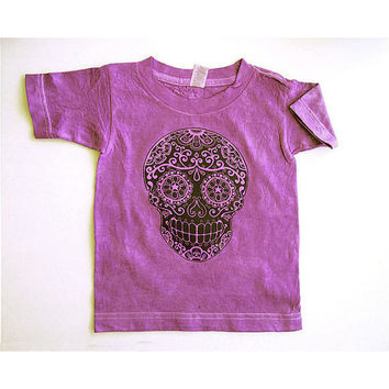 Kids distressed marsala skull shirt 2T 3T 4T 7 Vintage look toddler clothes. Faded girl boy tshirt tee Day of the Dead Sugar Skull shirt