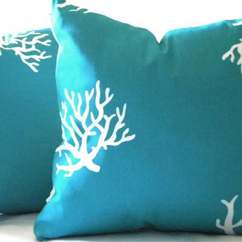 Decorative turquoise aqua pillow cover, indoor outdoor, toss pillow cover with White coral 20 x 20