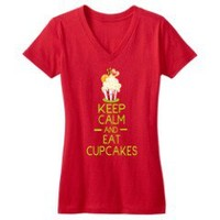 Keep Calm and eat cupcakes 16 design on New Red DTG Juniors Concert V-Neck Tee