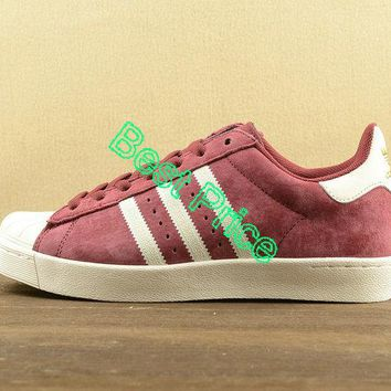 2018 How To Buy Adidas Superstar Vulc ADV Wine-red White D68723 newest sneaker