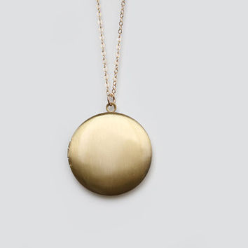 Vintage Brass Locket Necklace - 30 inch