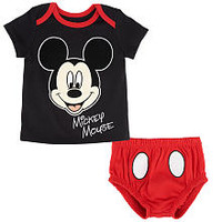 Disney Boys' 2 Piece Black/Red Mickey Mouse Short Sleeve Top and Diaper Cover Set