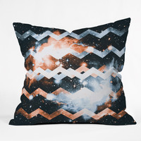 Caleb Troy Brass and Silver Star Chevron Throw Pillow