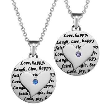Heart Inspirational Medallions Live Laugh Love Couples or Best Friends Amulets Cute Blue Purple Necklaces