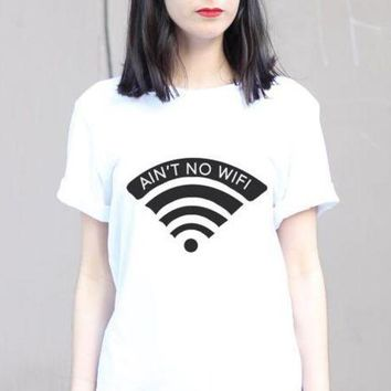 ONETOW Ain't No Wifi Print Women Tshirt Funny Cotton Casual Shirt For Lady Teen White Top Tee Hipster Street ZT20-251