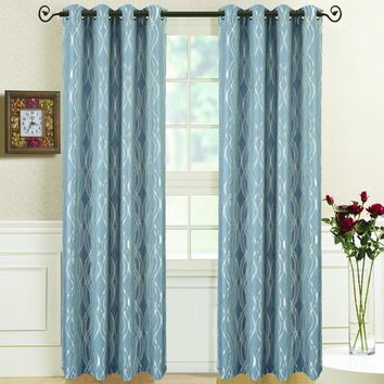 Blue Regalia Abstract Jacquard Tetured Grommet Top Curtain Panels (Two Panels )